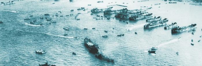 水釜海岸に上陸する米軍 昭和20年